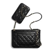 CHANEL Casual Style Unisex Lambskin 2WAY Chain Plain Party Style