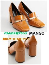 MANGO Square Toe Plain Toe Casual Style Plain Leather Block Heels