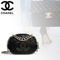 CHANEL Lambskin Chain Plain Elegant Style Crossbody Logo Camera Bag