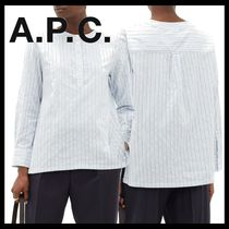 A.P.C. Stripes Casual Style Silk Long Sleeves Cotton