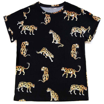 Crew Neck Other Animal Patterns Cotton Short Sleeves