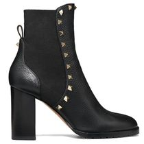 VALENTINO Plain Toe Rubber Sole Casual Style Studded Plain Leather
