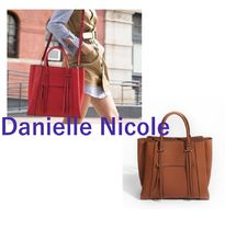 DANIELLE NICOLE Casual Style A4 2WAY Plain Leather Office Style Totes