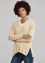 Ralph Lauren Cable Knit Casual Style Unisex Street Style V-Neck