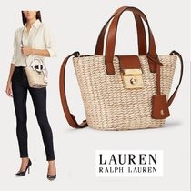 Ralph Lauren Street Style 2WAY Bi-color Plain Crossbody Straw Bags