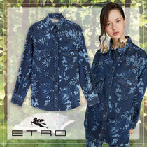ETRO Flower Patterns Casual Style Unisex Denim Long Sleeves