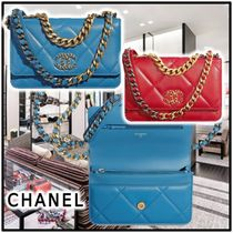 CHANEL 2020 SS CHAIN WALLET blue red more wallets & card holders