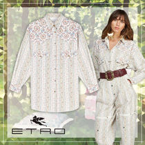 ETRO Flower Patterns Paisley Casual Style Unisex Denim