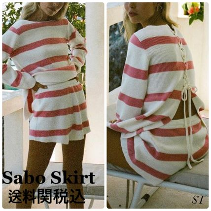 Crew Neck Short Stripes Casual Style Long Sleeves Dresses