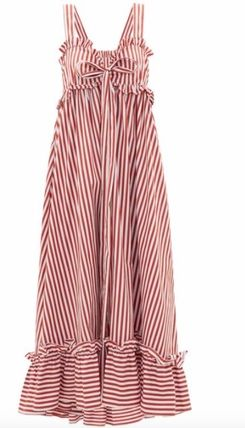 Stripes Casual Style Maxi A-line Sleeveless Flared Cotton