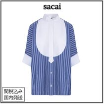 sacai Stripes Casual Style Plain Cotton Short Sleeves