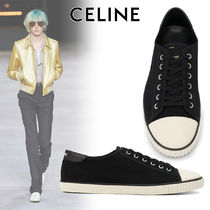 CELINE Blended Fabrics Street Style Bi-color Leather Logo Sneakers