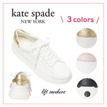 kate spade new york Dots Round Toe Rubber Sole Lace-up Casual Style Plain