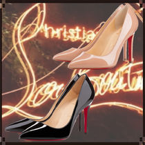 Christian Louboutin Enamel Plain Pin Heels Logo Stiletto Pumps & Mules