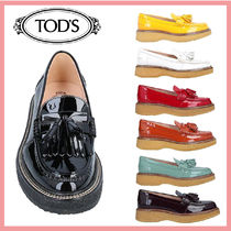 TOD'S Round Toe Rubber Sole Casual Style Tassel Plain Office Style