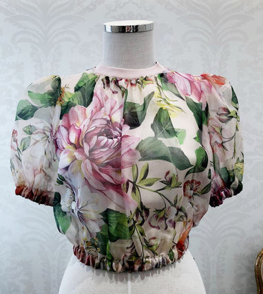 Dolce & Gabbana Short Flower Patterns Silk Short Sleeves Elegant Style