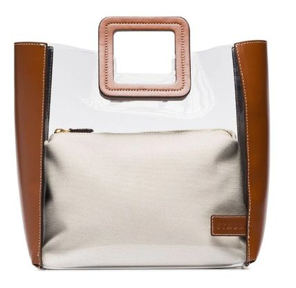 Blended Fabrics Plain Leather Crystal Clear Bags