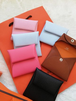 HERMES Coin Cases Unisex Calfskin Plain Leather Small Wallet Logo Coin Cases 3