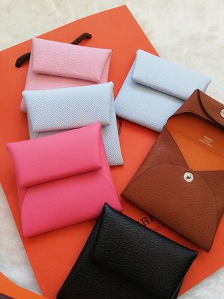 HERMES Coin Cases Unisex Calfskin Plain Leather Small Wallet Logo Coin Cases 5