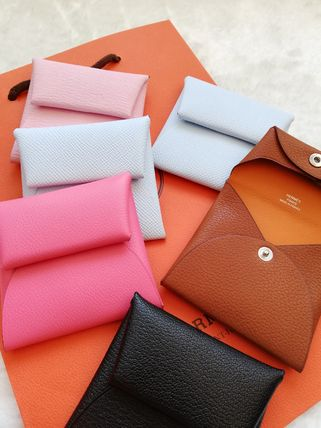 HERMES Coin Cases Unisex Calfskin Plain Leather Small Wallet Logo Coin Cases 4