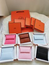 HERMES Bastia Unisex Calfskin Plain Leather Small Wallet Logo Coin Cases