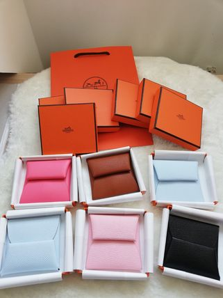 HERMES Coin Cases Unisex Calfskin Plain Leather Small Wallet Logo Coin Cases 2