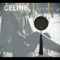 CELINE Lambskin Chain Party Style Fringes Elegant Style Party Bags