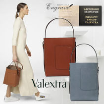 Valextra Calfskin Suede Plain Leather Office Style Elegant Style