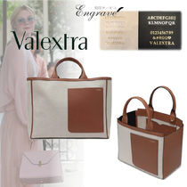 Valextra Casual Style Canvas A4 Plain Leather Office Style