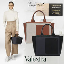 Valextra Casual Style Canvas Plain Leather Office Style Elegant Style