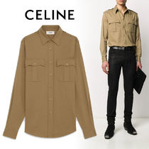 CELINE Button-down Street Style Long Sleeves Plain Cotton Military