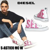 DIESEL Round Toe Rubber Sole Lace-up Casual Style Unisex