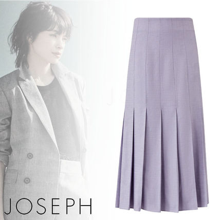 Casual Style Linen Pleated Skirts Plain Cotton Office Style