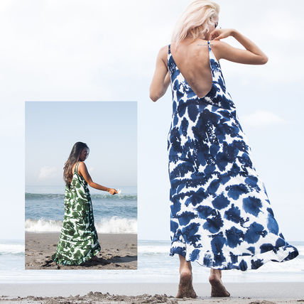 Casual Style Sleeveless Tie-dye Long Handmade Dresses