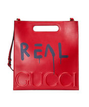 GUCCI Gucci Ghost Unisex A4 2WAY Leather Logo Totes