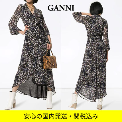Wrap Dresses Flower Patterns Casual Style Maxi Flared V-Neck