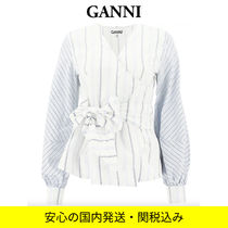 Ganni Stripes Casual Style Dolman Sleeves Puffed Sleeves