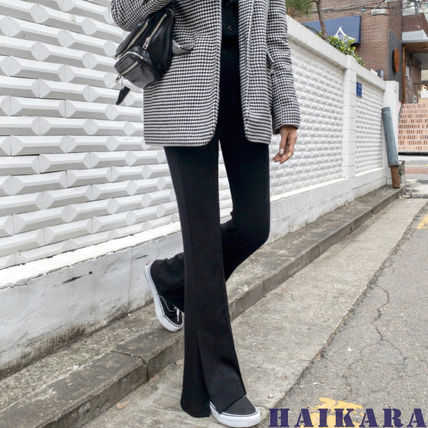 Casual Style Plain Long Center Pressed Pants