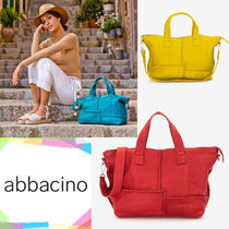 Abbacino Casual Style A4 2WAY Leather Elegant Style Totes