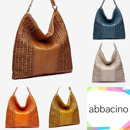 Casual Style A4 Leather Elegant Style Totes