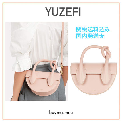 Casual Style 2WAY Bi-color Plain Leather Elegant Style Logo