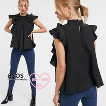 ASOS Casual Style Linen Puffed Sleeves Street Style Short Sleeves