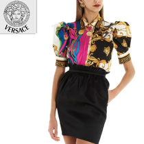 VERSACE Cropped Cotton Elegant Style Shirts & Blouses