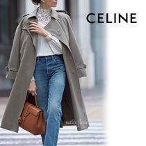 CELINE Wool Plain Long Office Style Elegant Style Front Button