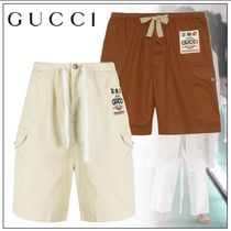 GUCCI Plain Cotton Logo Cargo Shorts