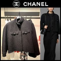 CHANEL ICON Short Other Plaid Patterns Casual Style Tweed Plain Medium