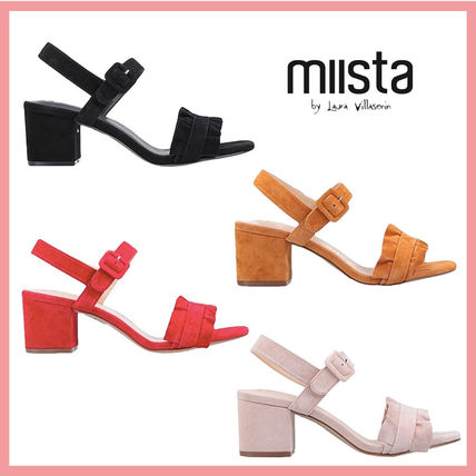 Round Toe Casual Style Suede Leather Block Heels Party Style