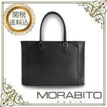 MORABITO Casual Style Calfskin A4 Plain Office Style Elegant Style