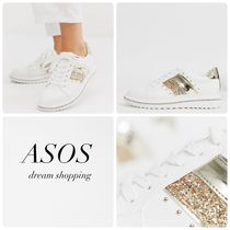 ASOS Platform Round Toe Lace-up Casual Style Faux Fur