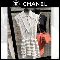 CHANEL ICON Crew Neck Short Casual Style Plain Medium Party Style Lace